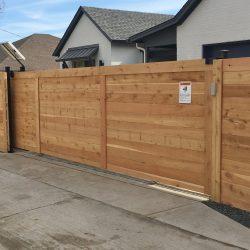 Residential Custom Cedar Wood Automatic Gate