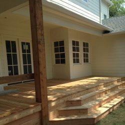 Custom cedar deck with steps