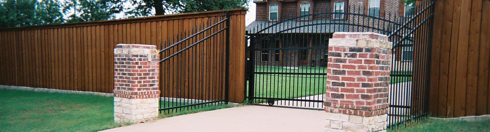 Black iron automatic swing gate