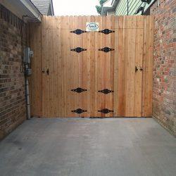 Double cut out gate cedar fence