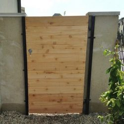 Residential Custom Cedar Wood and Iron Locked Fence Gate