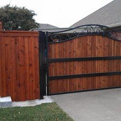 Cedar and iron swing gate