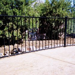 Iron flat-top pool fence with custom star insert