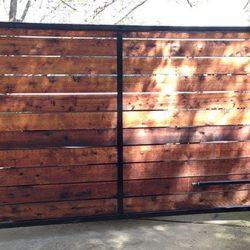 Horizontal cedar gate with iron frame