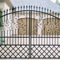 Decorative Iron Driveway Gate Installed