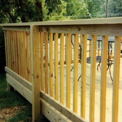 Skirted cedar deck with natural finish