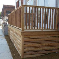 Skirted cedar deck for building patio