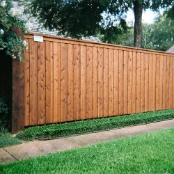 Stained cedar board on board cap and trim wood fence