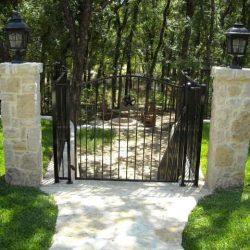 Stonework and iron gate